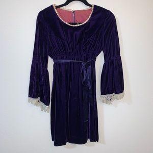 60s vintage lana purple velvet dress